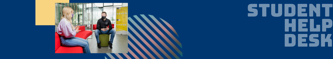 A dark blue banner image with 'Student Help Desk' in the right hand corner in light blue text