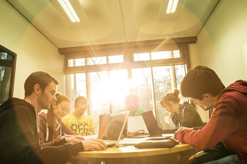 Library - Students group study - Maynooth University