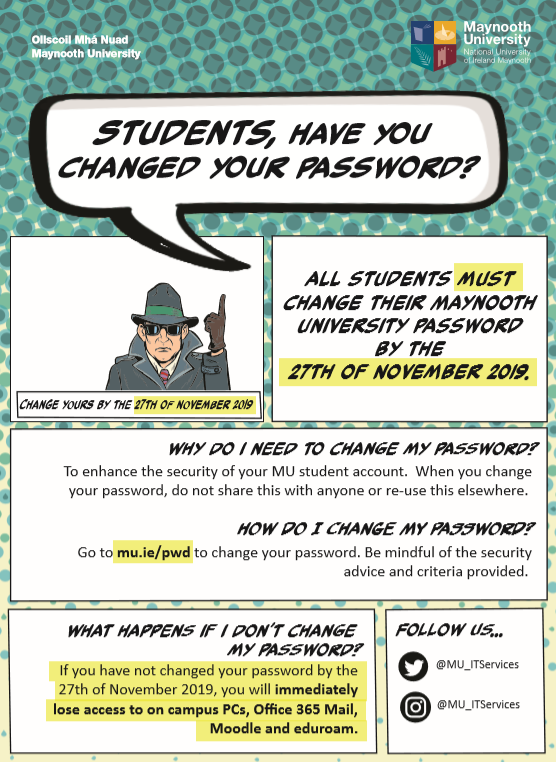 Change your password by 27th November 2019 flyer