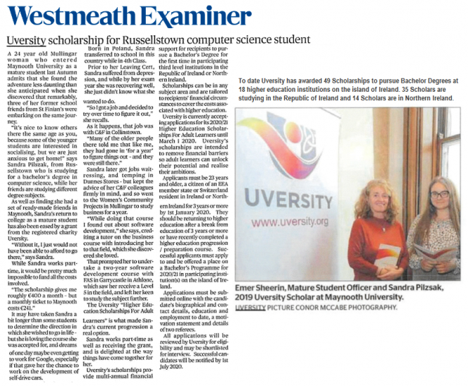 Uversity Westmeath Examiner Article