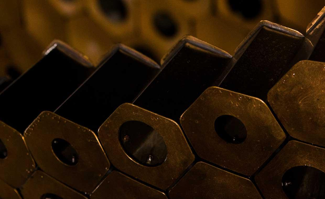 A close up of the waggle dance sculpture, showing some of the hexagons