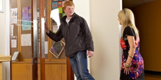 Students walking into Career Development Centre