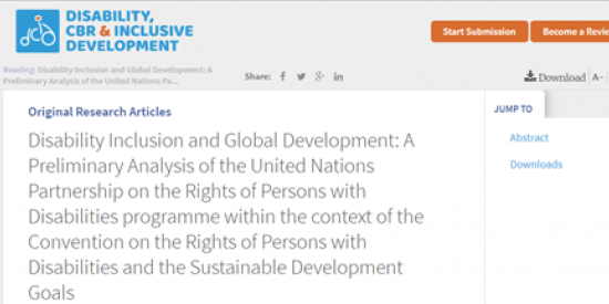 Disability Inclusion and Global Development: A Preliminary Analysis of the United Nations Partnership on the Rights of Persons with Disabilities programme within the context of the Convention on the Rights of Persons with Disabilities and the Sustainable