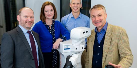 Photo caption: (l-r) Dr Michael Cooke, Assistant Prof in Applied Psychology; Dr Deirdre Desmond, Associate Prof, Department of Psychology and co-director of ALL Institute; Dr Rudi Villing, Assistant Prof in the Department of Electronic Engineering and Prof Mac MacLachlan, Co-Director of the ALL Institute, with PAL TIAGo robot funded with the support of Science Foundation Ireland (SFI)