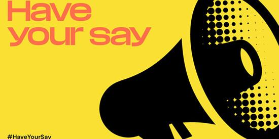A megaphone on a yellow background with the text 'have your say'
