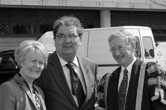 Pat Hume, John Hume, William Smythe at the opening of the John Hume Building